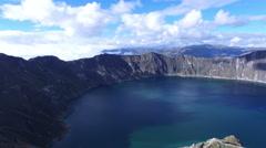 Moving over Quilotoa Lake in the Andes - stock footage