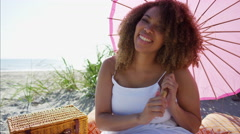 Portrait of a plus size Ethnic African American female on the sand dunes  Stock Footage