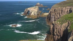 Atlantic Ocean, at Land's End, Cornwall, UK - stock footage