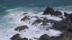Atlantic Ocean, Rocky Coast and Surf Stock Footage