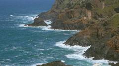 Atlantic Ocean, Rocky Coast and Tin Mining Ruins - stock footage