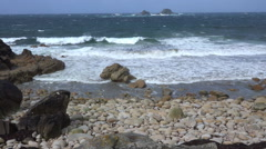 Atlantic Ocean at Porthnanven Beach, Cornwall, UK - stock footage
