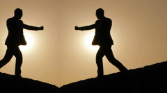 Shadow boxing. kicking fight. silhouette of man. person. male. leisure activity Stock Footage