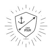 anchor and arrow  icon. Hipster Style design. Vector graphic - stock illustration