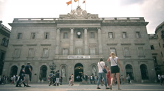Facade of Barcelona city hall in Sant Jaume square in Catalonia, Spain. Welcome Stock Footage