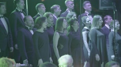 Choir with singers singing on the stage Stock Footage