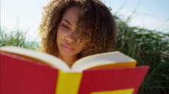 Portrait of afro hair Ethnic African American female reading a book for leisure Stock Footage