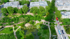 4K Top View of Champ de Mars Park, Aerial View from Eiffel Tower, Paris France - stock footage