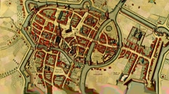 Antique map of  Courtray, Belgium Stock Footage