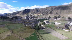 Fields of Agriculture, Sheep, and Canyon in the Andes Stock Footage