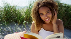 Portrait of smiling voluptuous Ethnic African American female relaxed  Stock Footage