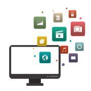 Computer icon. Gadget design. Vector graphic Stock Illustration