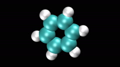 Molecular model of benzene Stock Footage