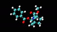 Molecular model of cocaine - stock footage