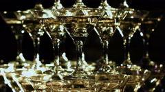 Celebration. Pyramid of champagne glasses. Gently toned Stock Footage