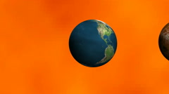 Planet earth showing the relative size of the planets against the Sun Stock Footage