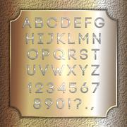 Vector silver coated alphabet letters, digits and punctuation on brass - stock illustration
