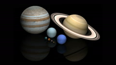 Rotation of the planets in the solar system Stock Footage