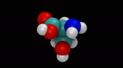 Rotating molecular model of the amino acid serine Stock Footage