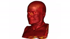 3D CT scan reconstruction of the head and shoulders of an elderly man Stock Footage
