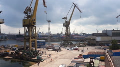Shipyard. Heavy industry. Steel industry. Stock Footage