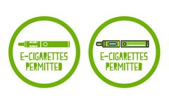 set of electronic cigarettes permitted sign icons - stock illustration