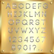 Vector silver coated alphabet letters, digits and punctuation on gold background - stock illustration