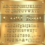 Vector gold coated alphabet letters, digits and punctuation on golden background - stock illustration