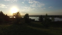 Beautiful river view at sunset. Aerial shooting. Stock Footage