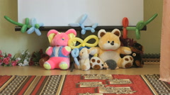 The baby soft animal toys in the hall of a nursery Stock Footage