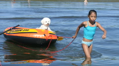 Little Girl Pulls Her Puppy Out To Sea In A Boat Stock Footage