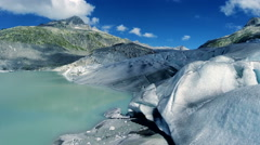 Climate change background. global warming. man standing on melting glacier Stock Footage