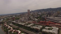 Aerial Down Town, City of Portland Oregon Stock Footage