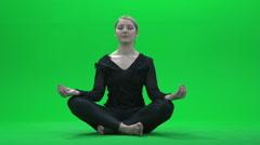 Women yoga pose green screen Stock Footage
