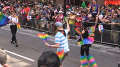 Gay pride parade on Yonge street in downtown Toronto Stock Footage