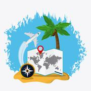 Trip implements. Time to travel design. Vector graphic - stock illustration