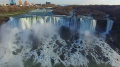 Wide stable aerial shot of American side Niagara Falls Stock Footage