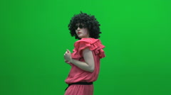 Clown crazy hair wig women green screen Stock Footage