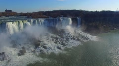 Aerial gliding shot of powerful waterfall in Niagara on American side Stock Footage