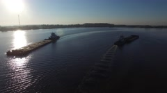 Two barge floating in the river at dawn. Aerial view. Stock Footage