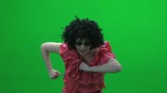 Fun dance women against green screen Stock Footage