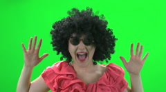 Afro hair wig green screen Stock Footage