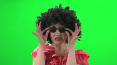 Funny crazy women isolated green screen Stock Footage