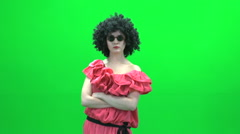 Women with funny dress  isolated green screen Stock Footage