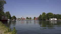 English Town by the River Stock Footage