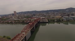 Aerial Bridge north-west broadway, City of Portland Oregon Stock Footage