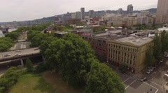 Aerial Down Town and Portland Oregon Sign Stock Footage