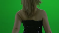 Beautiful blond women model isolated green screen Stock Footage