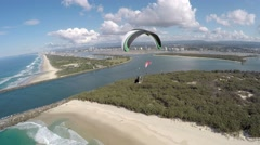 Powered Paraglider Beach Flying Stable 4K #2 Stock Footage