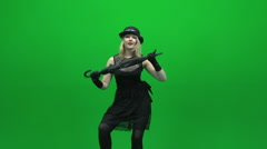 Black umbrella women dancing green screen Stock Footage